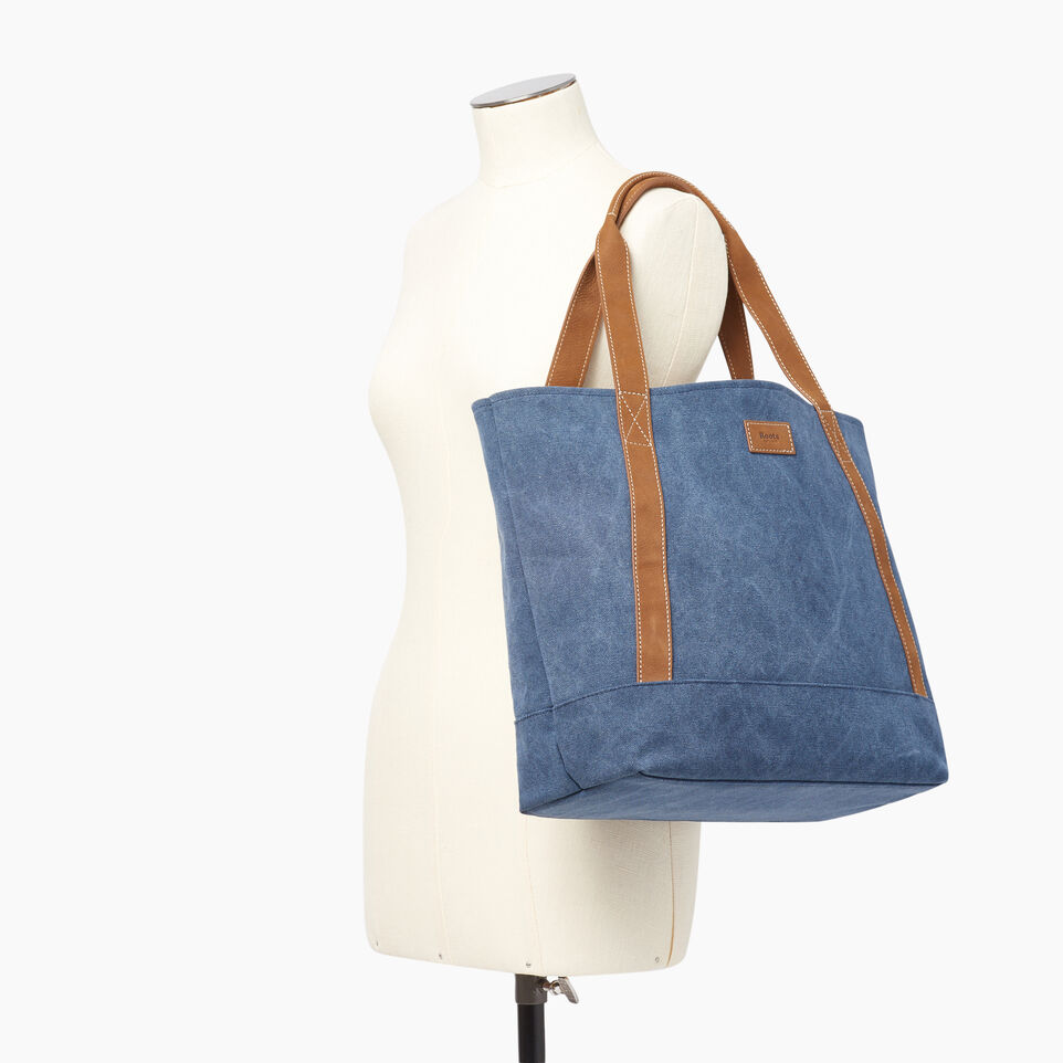 Roots-Women Our Favourite New Arrivals-Muskoka Tote Canvas-Navy-B