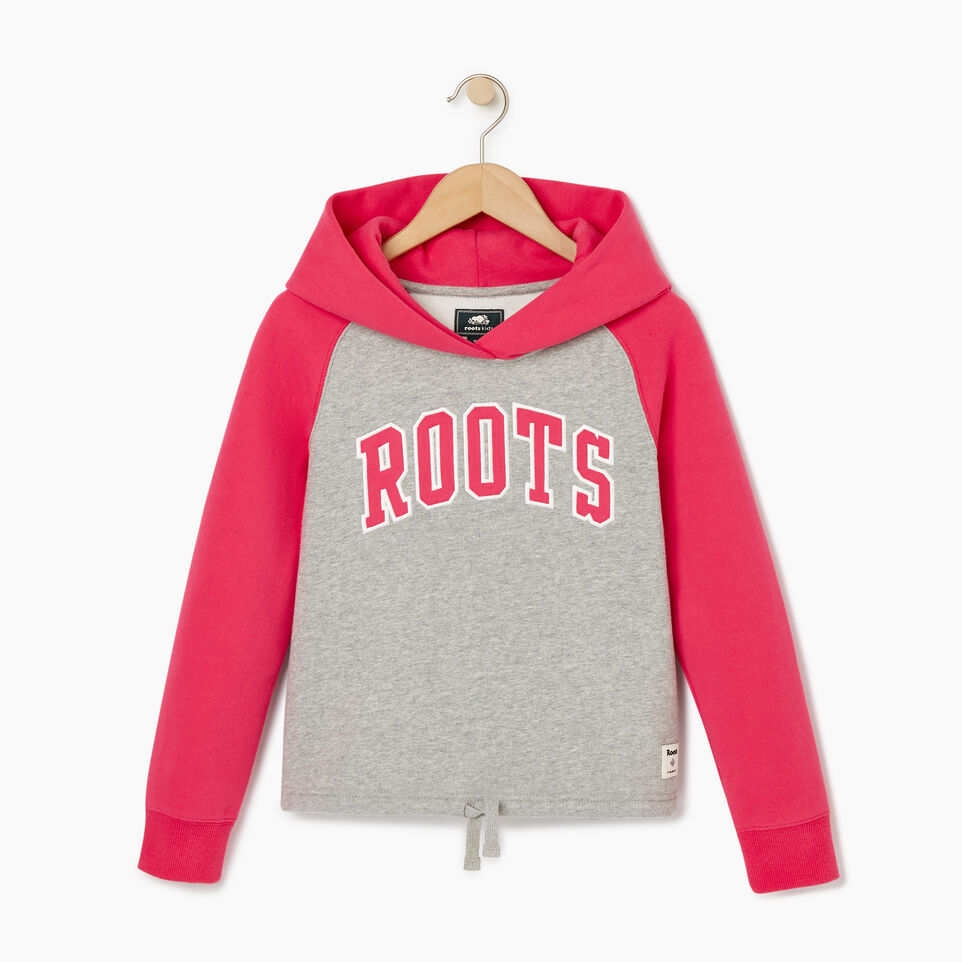 Roots-Kids Our Favourite New Arrivals-Girls 2.0 Colour block Raglan Hoody-Grey Mix-A
