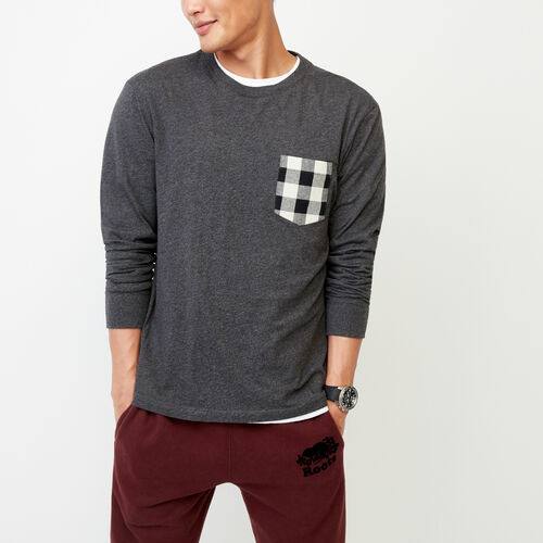 Roots-Men Tops-Flannel Pocket Long Sleeve Top-Charcoal Mix-A