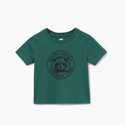 Roots-Kids T-shirts-Baby Cooper Animal T-shirt-Hunter Green-A