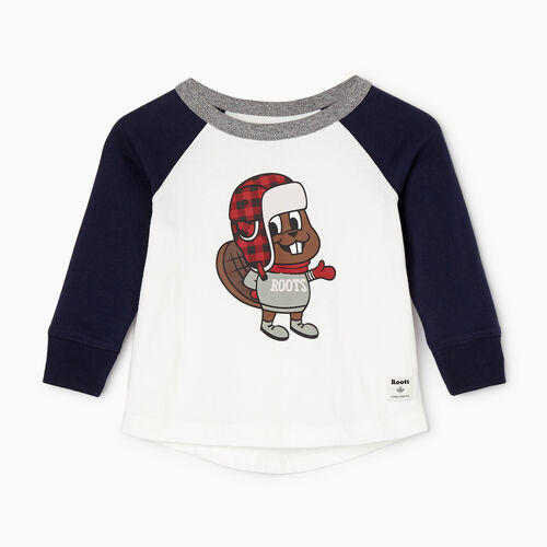 Roots-Kids Our Favourite New Arrivals-Baby Buddy The Beaver T-shirt-Navy Blazer-A