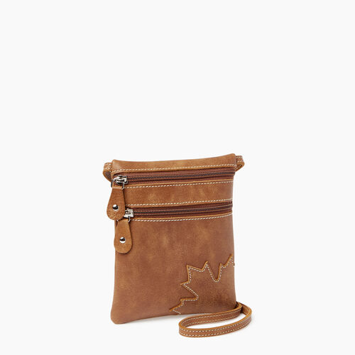 Roots-Leather  Handcrafted By Us Handbags-Trans Canada Pouch-Natural-A