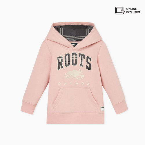 Roots-Kids Tops-Toddler Heritage Plaid Hoody-Pink-A