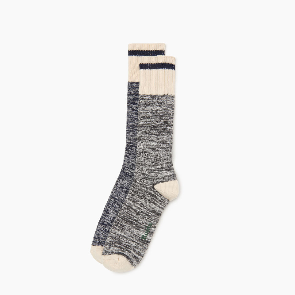 Roots-Men Clothing-Cotton Cabin Sock 2 pack-Navy-B