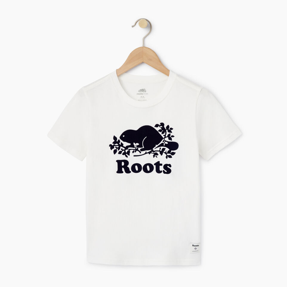 Roots-New For August Kids-Boys Original Cooper Beaver T-shirt-Cloudy White-A