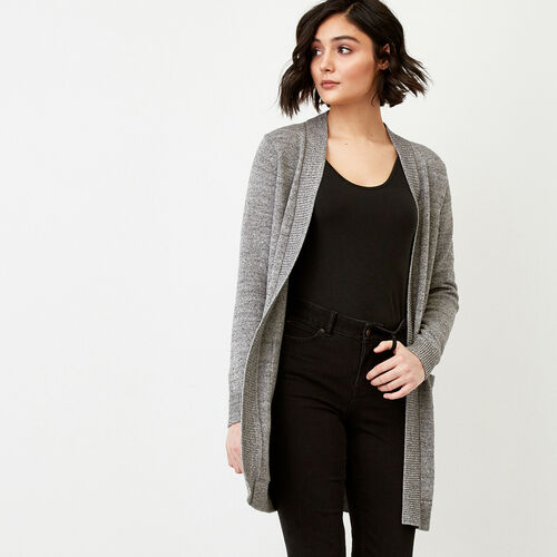 Roots-Women Sweaters & Cardigans-Ekwan Open Cardigan-Medium Grey Mix-A