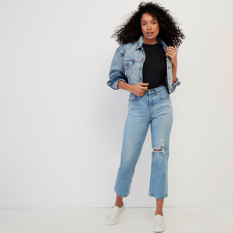 Roots-Women Clothing-Levi's Ribcage Straight Ankle Jean-Med Denim Blue-B