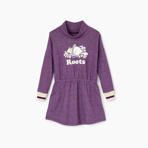 Roots-Kids Girls-Girls Buddy Cozy Fleece Dress-Grape Royale Pepper-A