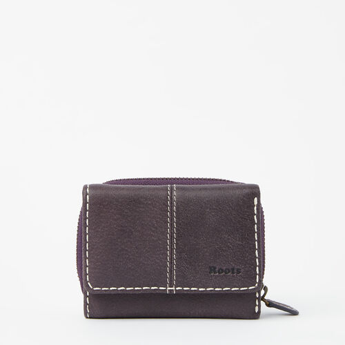 Roots-Leather  Handcrafted By Us Wallets-Small Trifold Clutch Tribe-Wineberry-A