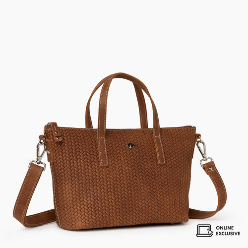 Roots-Leather Crossbody-Small Zoe Bag Woven-Natural-A