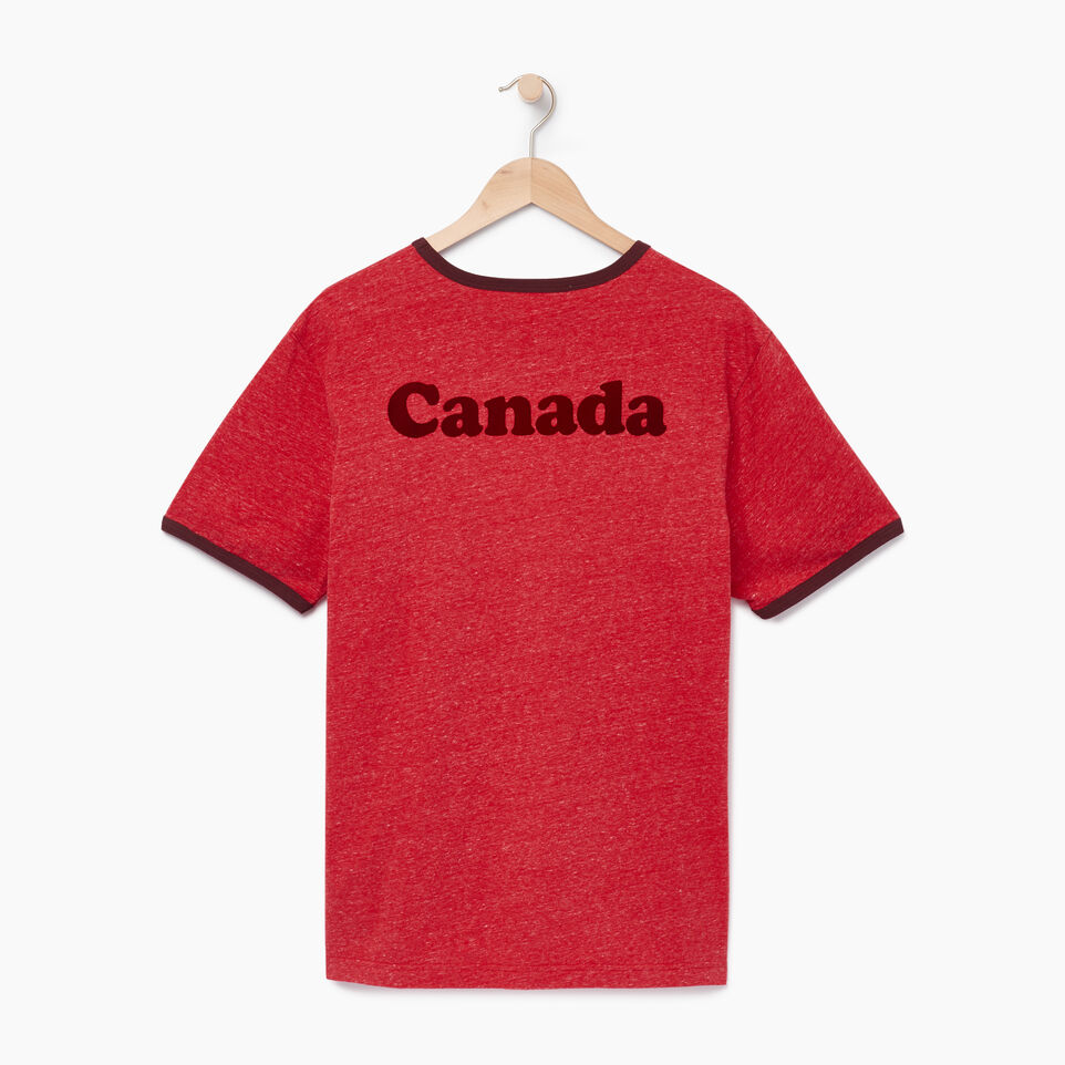 Roots-New For July Men-Mens Canada Cabin Ringer T-shirt-Sage Red Mix-B