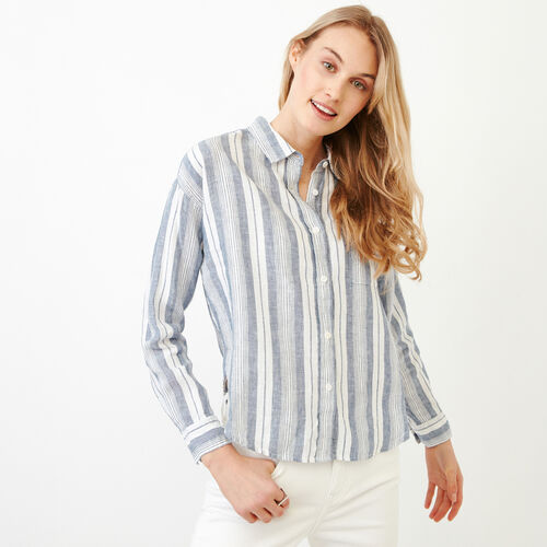 Roots-Women Categories-Baeberry Linen Shirt-Indigo Blue-A