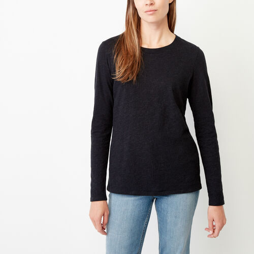 Roots-Women Our Favourite New Arrivals-Pierce Crew Top-Black Mix-A
