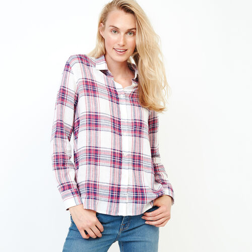 Roots-Women Clothing-Relaxed Plaid Shirt-Tibetan Red-A