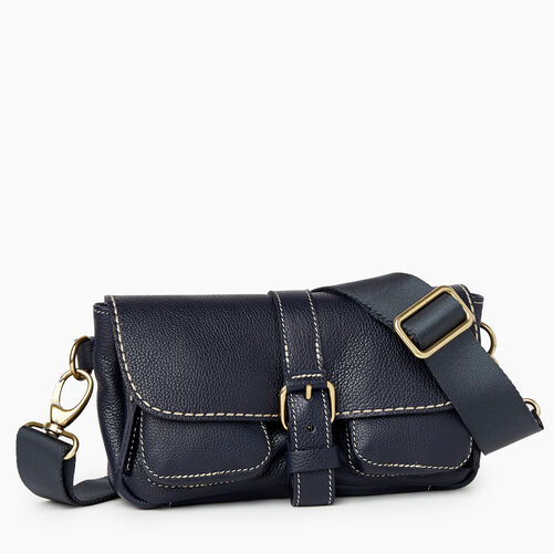 Roots-Leather Mini Leather Handbags-Convertible Small Emily Cervino-Navy-A