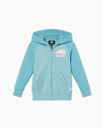 Roots-Sweats Toddler Girls-Toddler Original Full Zip Hoody-Aqua Pepper-A