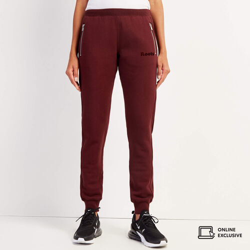 Roots-Women Slim Sweatpants-Velour Logo Slim Cuff Sweatpant-Crimson-A