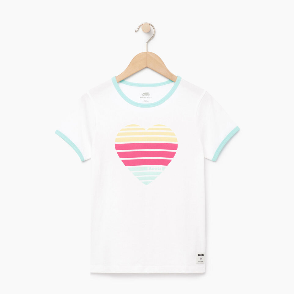 Roots-Sale Kids-Girls Heart Ringer T-shirt-Ivory-A
