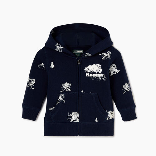 Roots-Sale Kids-Baby Hockey Aop Full Zip Hoody-Navy Blazer-A