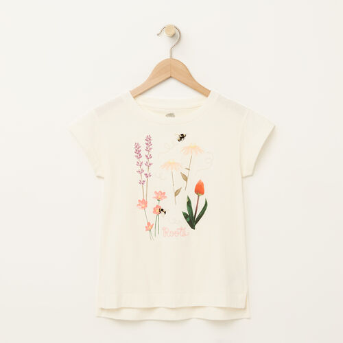 Roots-Sale Girls-Girls Floral Boxy T-shirt-Pristine White-A