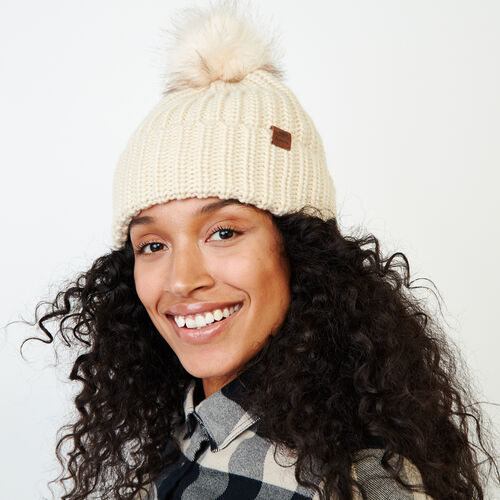 Roots-Women Categories-Olivia Fur Pom Pom Toque-Light Fog-A