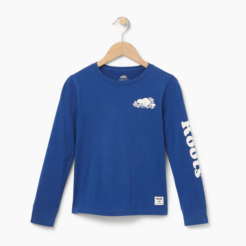 Roots-New For August Kids-Boys Roots Remix T-shirt-Blue Depths-A