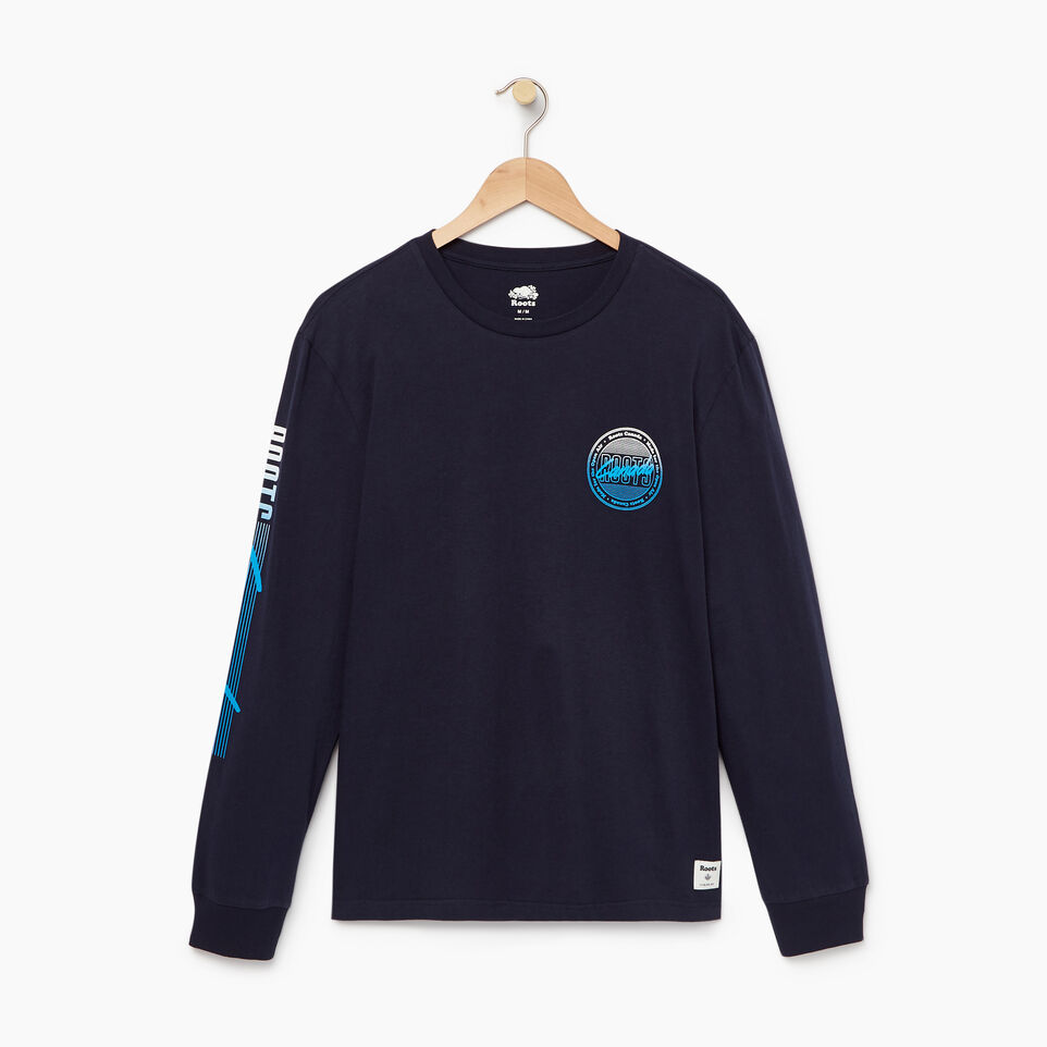 Roots-Men Our Favourite New Arrivals-Mens Roots Miami Long Sleeve T-shirt-Navy Blazer-A