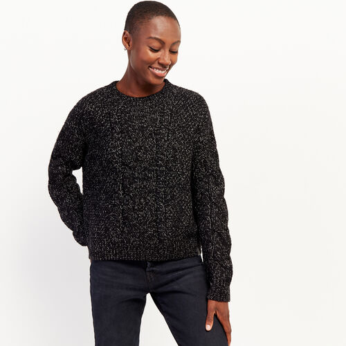Roots-Women Sweaters & Cardigans-Snowy Fox Cable Sweater-Black Fox-A