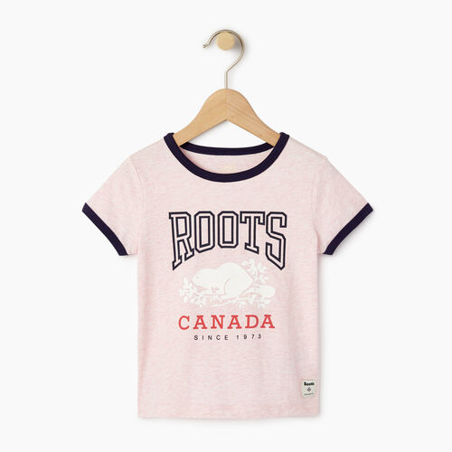 Roots-Kids T-shirts-Toddler Roots Classic Ringer T-shirt-Pink Mist Mixpink-A