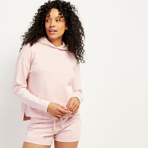 Roots-Sweats Women-Eramosa Cropped Hoody-Peachskin-A