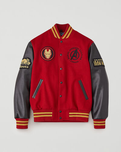 Roots-Leather Men's Award Jackets-Avengers Iron Man Award Jacket-Black/red-A