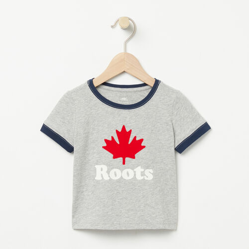 Roots-Kids Bestsellers-Baby Maple Ringer T-shirt-Grey Mix-A