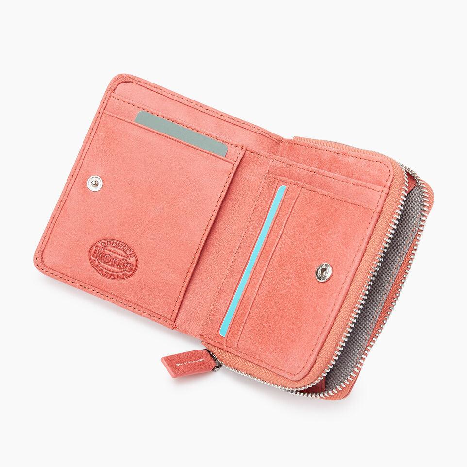 Roots-Leather New Arrivals-Small Zip Wallet Tribe-Coral-C