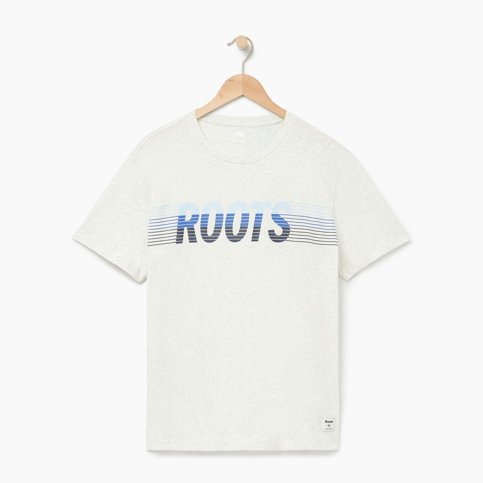 Roots-Men Our Favourite New Arrivals-Mens Roots Runner T-shirt-Ivory Pepper-A