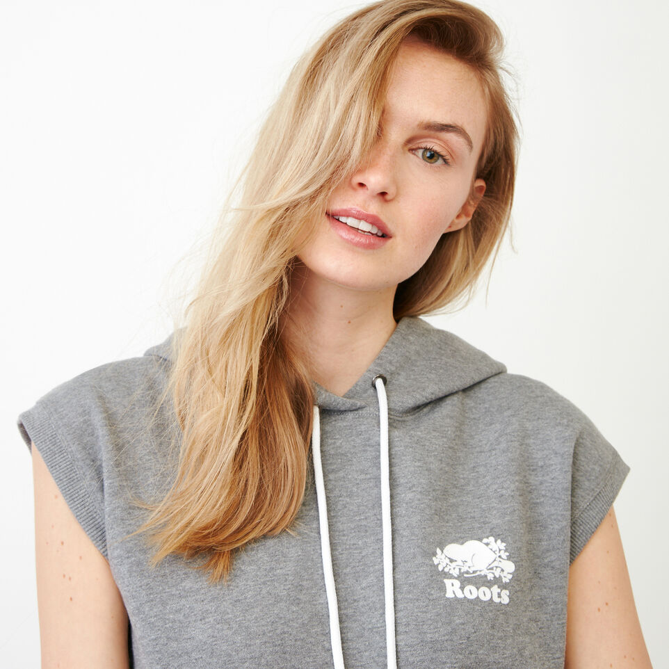 Roots-Women Our Favourite New Arrivals-Tyne Sleeveless Hoody-Medium Grey Mix-E