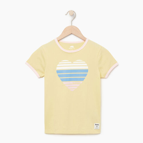 Roots-Clearance Kids-Girls Heart Ringer T-shirt-Lemon Meringue-A