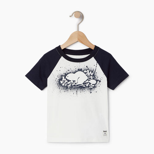 Roots-Kids Tops-Toddler Splatter Raglan T-shirt-Ivory-A