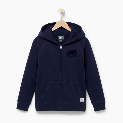 Roots-Kids Sweats-Boys Original Full Zip Hoody-Navy Blazer-A