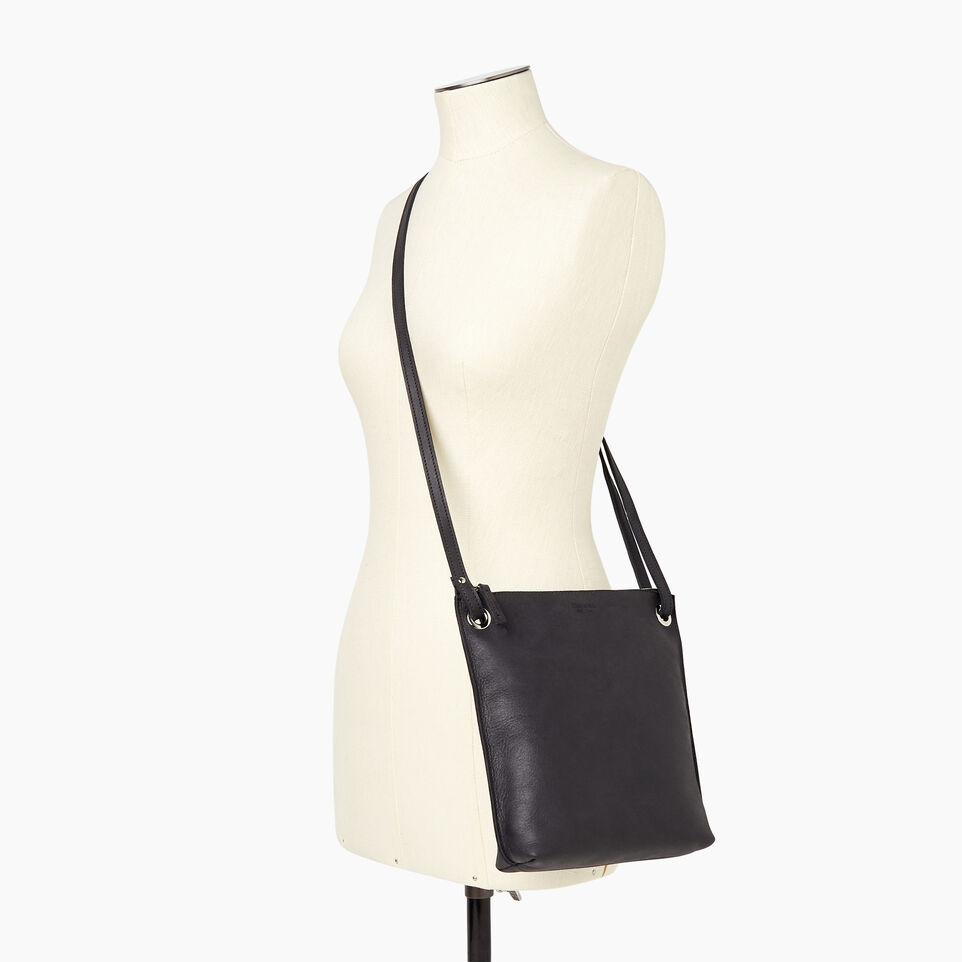 Roots-Leather  Handcrafted By Us Handbags-Festival Bag-Jet Black-B