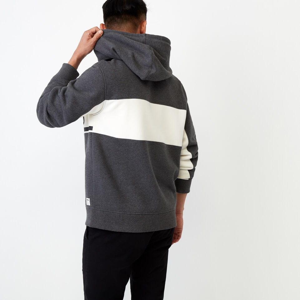Roots-Clearance Men-Ribbon Kanga Hoody-Charcoal Mix-D