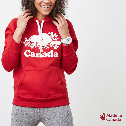 Roots-Women Canada Collection By Roots™-Womens Cooper Canada Kanga Hoody-Sage Red-A