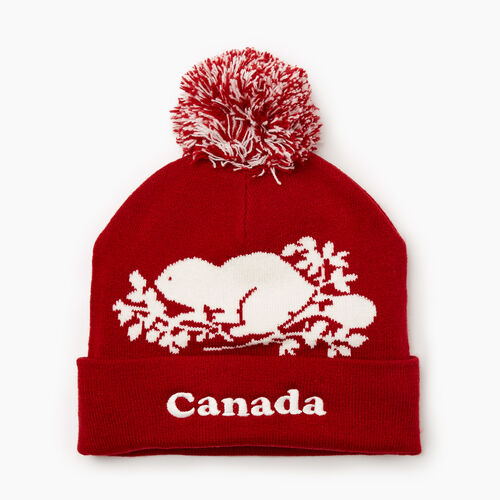 Roots-Women Hats-Canada Pom Pom Toque-Sage Red-A