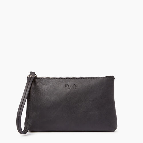 Roots-Leather Our Favourite New Arrivals-Wristlet Pouch-Jet Black-A