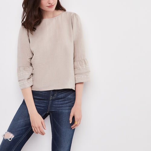 Roots-Women Shirts-Mabel Top-Natural-A