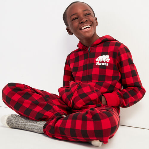 Roots-New For November Kids-Boys Park Plaid Onesie-Cabin Red-A