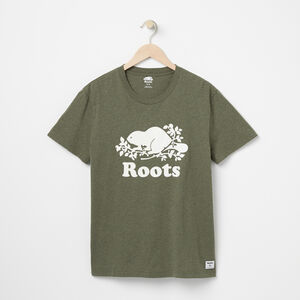 Roots-Men Graphic T-shirts-Mens Cooper Beaver T-shirt-Duck Green Mix-A