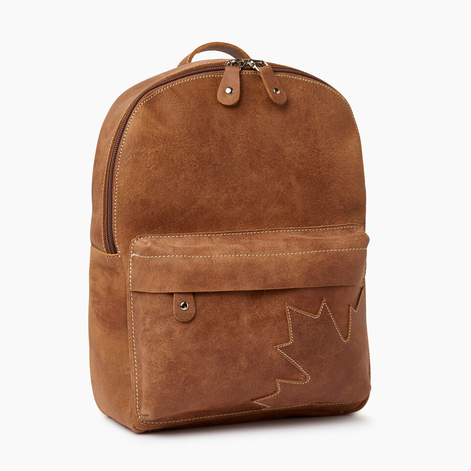 Roots-Leather Backpacks-Trans Canada Backpack-Natural-A
