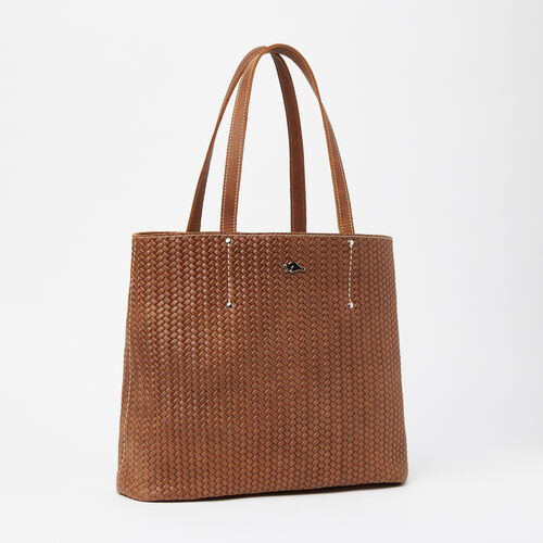 Roots-Winter Sale Leather-Downtown Tote Woven-Natural-A