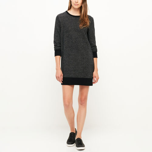 Roots-Sale Women-Cozy Fleece Dress-Black Pepper-A