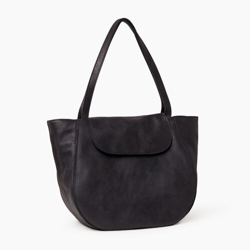 Roots-Leather  Handcrafted By Us Handbags-Lambert Tote-Jet Black-A